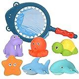 Juguetes para niños Regalo del día de los niños CebbayBebé bañándose flotando Suave Goma Animales Agua bañera Juguete chorros Spoon-Net 7pcs