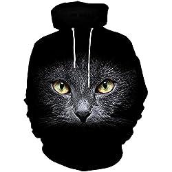 Sudaderas con Capucha,Lenfesh 3D Gato Negro Impreso Hoodies Pullover Camiseta de Manga larga de Invierno para Hombre Mujer Adolescentes Nuevo 2017/2018 (M, Negro)