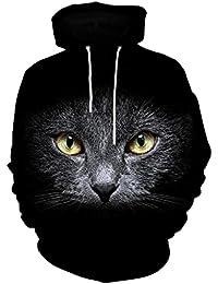 Sudaderas con Capucha,Lenfesh 3D Gato Negro Impreso Hoodies Pullover Camiseta de Manga larga de