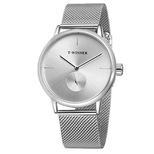 YANGSANJIN Herren Uhr Armband aus Stahl rostfrei wasserdichte Armbanduhr ultradünnes Ziffernblatt Schlichtes Design - Männeruhr, C