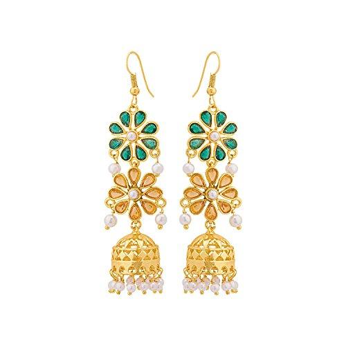 Voylla Gold Plated Jhumki Earrings for Women (8907617636962)