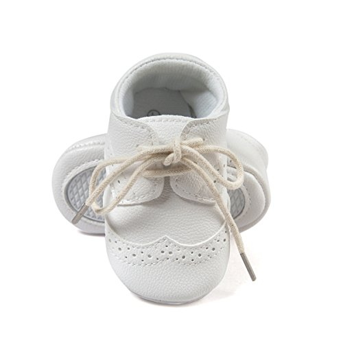 ESTAMICO Baby Jungen PU Schnürsenkel Lauflernschuhe Weiß 0-6 Monate (Schuhe Weiße Baby)