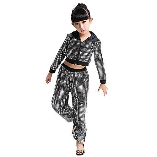 Wgwioo Kinder Hip Hop Kostüm Tanz Kleidung Mädchen Pailletten Street Set,Black,140Cm (Schwarz Lyrischen Tanz Kostüm)