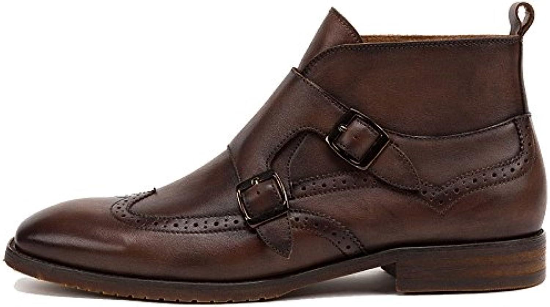 LYZGF Männer Herbst Casual Fashion Bullock Jugend Schnürsenkel Lederstiefel