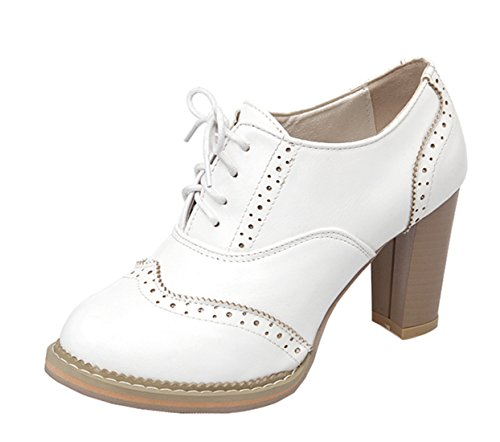 YE Damen High Heels Retro Süße Geschlossene Zehe Pumps mit Blockabsatz Brogue Frühling Herbst Schnürhalbschuhe Casual Shoes