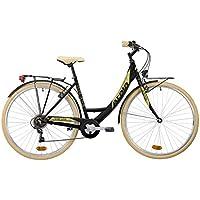 Bicicleta de ciudad Unisex Atala Toscana, 6 velocidades, color negro mate crema, tamaño