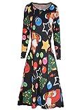 KPILP Swing Kleid Damen Retro Langarm Weihnachten Weihnachtsmann Skater Print Bluse Petticoat Schneemann A-Linie Winter(Schwarz4,EU-44/CN-2XL