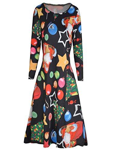 KPILP Swing Kleid Damen Retro Langarm Weihnachten Weihnachtsmann Skater Print Bluse Petticoat...