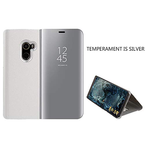 Meeter Funda para Xiaomi Mi Mix 2, Flip Funda Elegante Espejo Funda Semi Transparente Funda de Cuero PC Ultra Delgada con Funda Protectora Flip Funda Folio - Plata