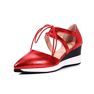 AllhqFashion Women's Lace Up Kitten Heels Pu Solid Pointed Closed Toe Pumps Shoes, Red, 39