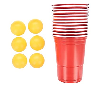 Adult Drinking Game 18 Piece Beer Pong Set 12 Red Cups and 6 Balls