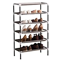 AcornFort® S-111 6 Tiers Adjustable Shoe Storage Shoe Rack Organiser Shelf Hold Stand for 18 Pairs Shoes, Using Thickened Electrophoresis Tubes, Sturdy & Space Saving, Easy Assemble