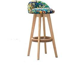 Guo shop- Moda Nacional Wind BarLinen Madera Sólida Algodón Material de Lino Silla Giratoria Bar Taburete Cafetería, Altura del Asiento 71.5 cm / 64 cm Buena silla ( Color : A , Tamaño : 71.5cm )
