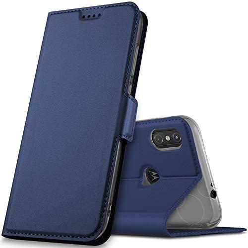 GeeMai Motorola One Hülle, Moto one Hülle, Motorola One Leder Hülle Flip Case Wallet Stylish mit Standfunktion & Magnetisch Ledertasche Schutzhülle handyhüllen für Motorola One Smartphone, Blau