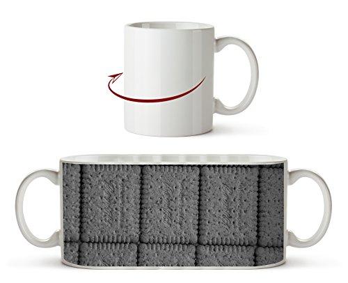 köstliche Mini Kekse Effekt: Schwarz/Weiß als Motivetasse 300ml, aus Keramik weiß, wunderbar als Geschenkidee oder ihre neue Lieblingstasse. -