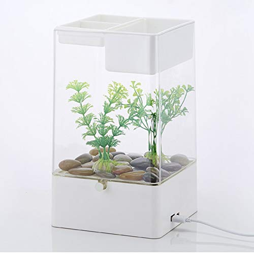 50l Led (TOYBO ERMEI Fauler Mini-Goldfischschreibtisch des kleinen Acrylschwimmbeckens automatischer Reinigung transparenter Fischbehälter-White)