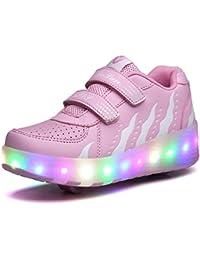 Unisex Led Luz Automática de Skate Zapatillas con Ruedas Zapatos Patines Deportes Zapatos para Niños…