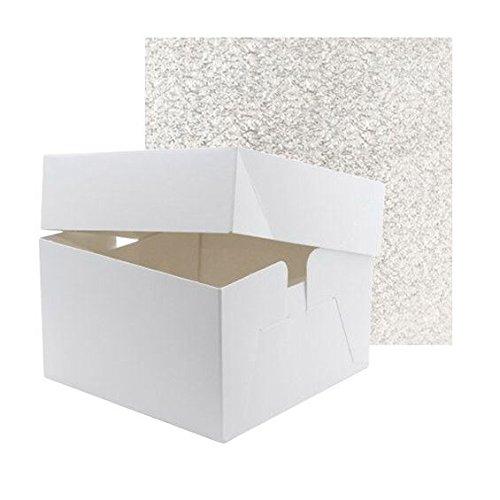 22,9 cm Blanc Boîte à gâteau avec 22,9 cm carré double épais Argent Tableau