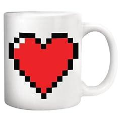 Idea Regalo - Kikkerland Mug Cuore Pixel, Ceramica, 12x9x11 cm