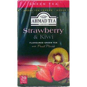 Ahmad Tea – Strawberry and Kiwi | Grüner Tee mit Erdbeer- und Kiwi-Geschmack | 20 Teebeutel á 2 g mit Band