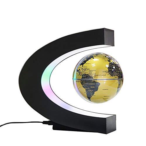 hängung sphärische C-förmige Anti-Schwerkraft rotierende Karte dekorative Farbe LED-Leuchten nach Hause kreative 360   ° Schreibtisch praktische Handwerk,Gold ()