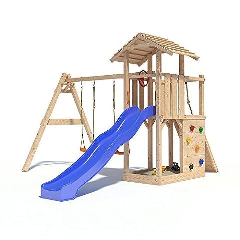 Spielturm EMPIRE von Oskar mit Schaukelanbau, Doppelschaukel, Rutsche, Kletterwand, Lenkrad und Kletterrampe auf 1,20 Meter