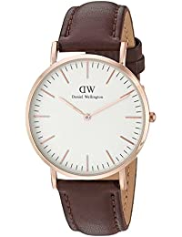 Daniel Wellington - 0507DW - St Mawes - Montre Mixte - Quartz Analogique - Cadran Rose - Bracelet Cuir Marron