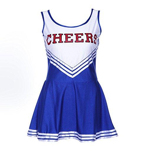TOOGOO(R) Pom-Pom Maedchen Traegerhemd Kleid Cheer Leader blau Anzug Kostuem XL (42-44) Schule Fussball