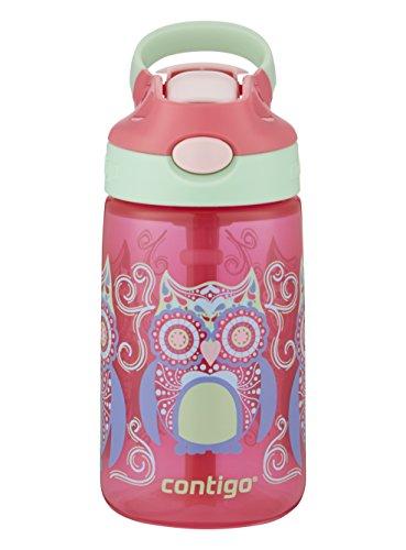 Contigo AUTOSPOUT® Straw Striker I Kinder-Trinkflasche I BPA-frei I 414 ml I integrierter Strohhalm I auslaufsicher I tropsicher I große Eule