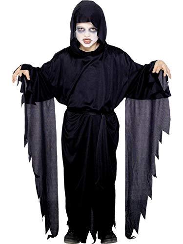 Halloweenia - Jungen Kinder Scream Geist Gespenst Sensemann Kostüm, Kapuzen Gewand mit Gürtel, perfekt für Halloween Karneval und Fasching, 104-116, Schwarz (Kinder Scream Kostüm)