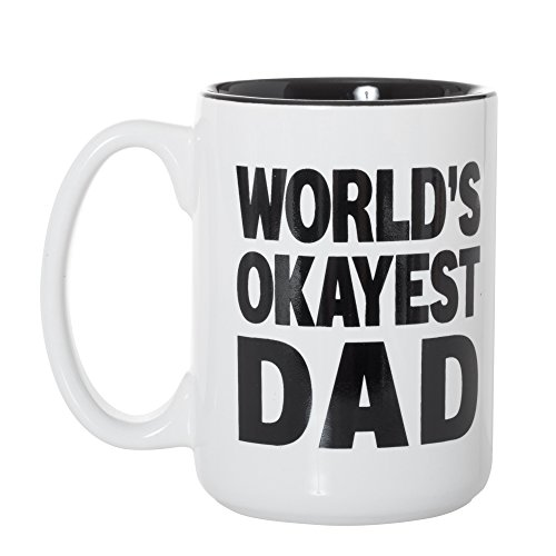 World 's Okayest Inlay Schwarz Groß 15Oz doppelseitig Kaffee Tee Tasse 15 oz World's Okayest Dad