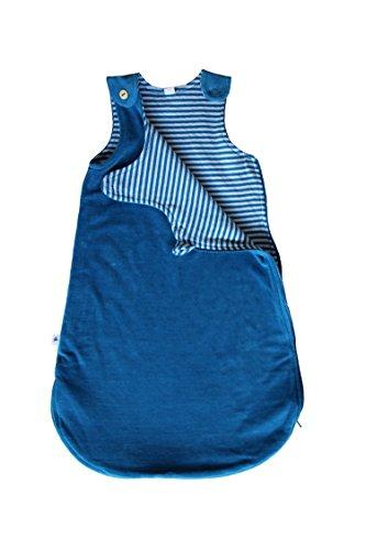 Leela Cotton Nicky Babyschlafsack Bio-Baumwolle GOTS Ganzjahres Schlafsack Ärmellos 2.5 Tog (60cm (0-6 Monate), blau)