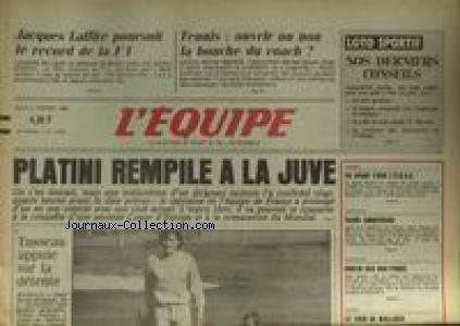 EQUIPE (L') [No 12363] du 06/02/1986 - PLATINI REMPILE A LA JUVE - JACQUES LAFFITE - F1 - TENNIS - NATATION - FAURE - HANDBALL - NEIGE - WALLISER.