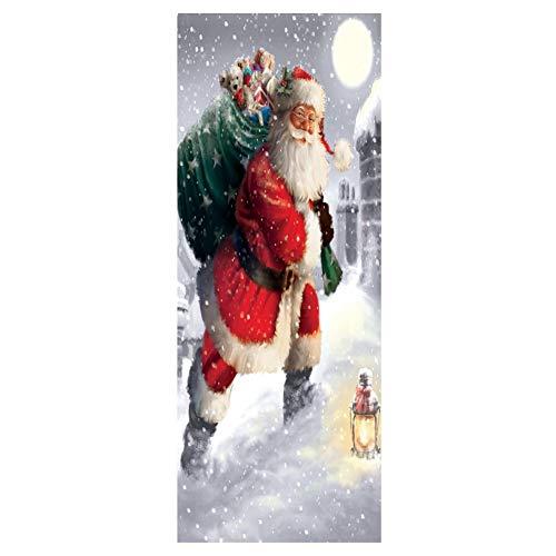 YJZ 3D Tür Wandbilder Peel Stick Aufkleber verschleißfest wasserdicht abnehmbare Kunstwanddekor Santa Claus Muster