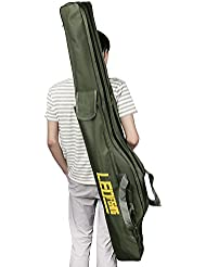 Caña de pesca bolsa de transporte plegable impermeable pesca Polo herramientas bolsa de almacenamiento caso organizador de soporte de viaje de gran capacidad de doble capa aparejos de pesca