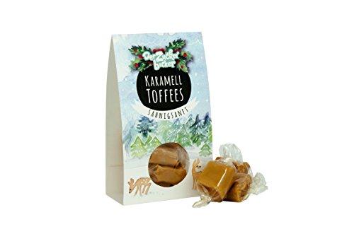 Karamell Toffees, sahnigsanfte Bonbons mit leckerem Karamellgeschmack, die auf Der Zunge zergehen, wie Schnee - 60 Gramm Naschportion, süßes Weihnachtswichtelgeschenk