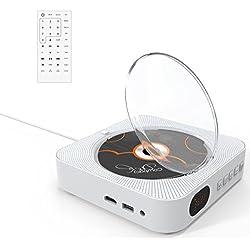 Lecteur DVD,VIFLYKOO Lecteur DVD/CD Portable Montage Mural Bluetooth avec Télécommande,Full HD 1080p,Haut-Parleur HiFi intégré,Radio FM,3.5 mm Prise Aux,Port USB et HDMI - Blanc