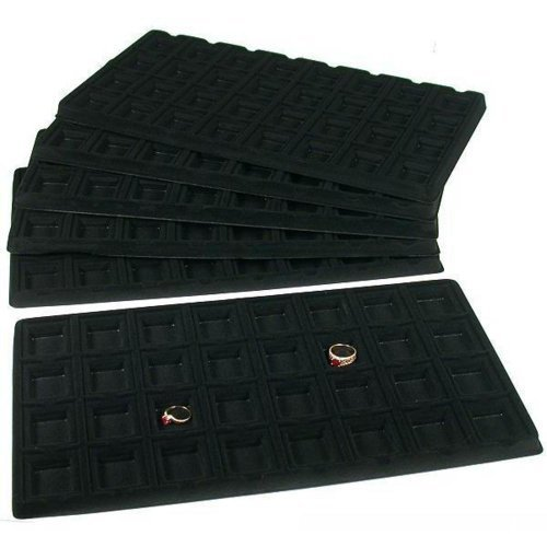 6 Black 32 Slot Puff Earring Cards Showcase Display Tray Inserts by FindingKing 32 Slot, Display-trays