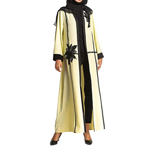 Muslimische Kleider Yesmile Frauen Kimono Vorne Offene Spitze Jilbab Maxi Hochzeit Kaftan Robe Casual Abendkleid Kaftan Kleid Maxikleid Lange ÄRmel Kimono Muslime Strickjacke Kleid (Gebet Jüdischen Schal Frauen Für)