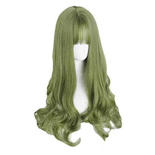 65 cm Vert pleine perruque longue vague bouclée synthétique perruque de cheveux perruque cosplay cos