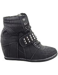 Sopily - Zapatillas de Moda Deportivos Plataforma Altas A medio muslo mujer tachonado cuadrado pirámide Talón Plataforma 10 CM - plantilla cuero - Negro