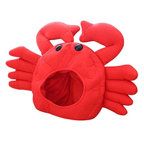 Amosfun Lustige Hut Plüsch Hut Krabbenhut Krabben Kostüm Zubehör Fotorequisiten Party Hut für Kinder Erwachsene ()
