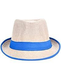 Leisial Unisexe Panama Chapeau de Paille en Lin de tissage Anti-soleil Respirant Anti UV Casquettes visières été Loisir Voyage