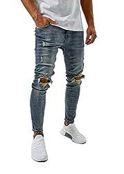 Burocs Herren Destroyed Jeans Slim Fit Skinny Stretch Blau Schwarz BR1512, Farbe:Blau, Hosengröße:W32 L30