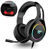 havit RGB bedrade Gaming Headset PC USB 3.5mm XBOX / PS4 Headsets, met 50MM Driver Surround Sound & Ruisonderdrukking Microfoon, XBOX One Gaming Overear Hoofdtelefoon voor Computer en meer, Zwart (H2011d)
