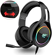 havit RGB bedrade Gaming Headset PC USB 3.5mm XBOX / PS4 Headsets, met 50MM Driver Surround Sound & Ruisonderdrukking Microf