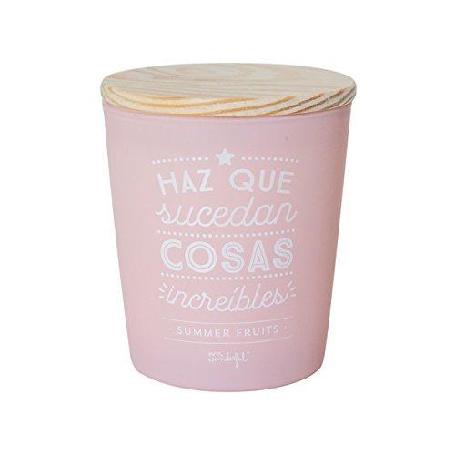 Mr. Wonderful Vela Haz Que sucedan Cosas increíbles, Cera, Rosa, 10.4x10.4x13 cm
