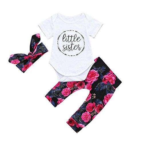 Jiameng-zi  3 pezzi della neonata infantile vestiti poco eleganti floreali freschi del vestito giacca + pantaloni + vestito della fascia (24m, bianco)