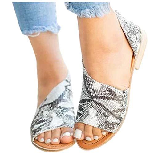 Übergroßer Sandalen für Damen/Dorical Frauen Sommer Retro-Peep-Toe-Sandalen mit seitlicher Abdeckung Damenschuhe Mode einfache PU-Leder Schuhe rutschfest 35-43 EU Ausverkauf(Dunkelgrau,35 EU)