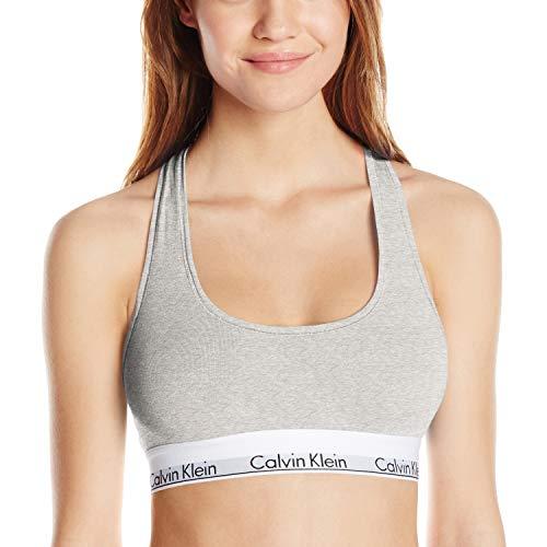 Calvin Klein Women's Modern Cotton Bralette Bra, Grey Heather, M